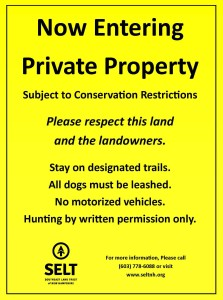 New Signs Remind Users of Private Land within Stratham Hill Park